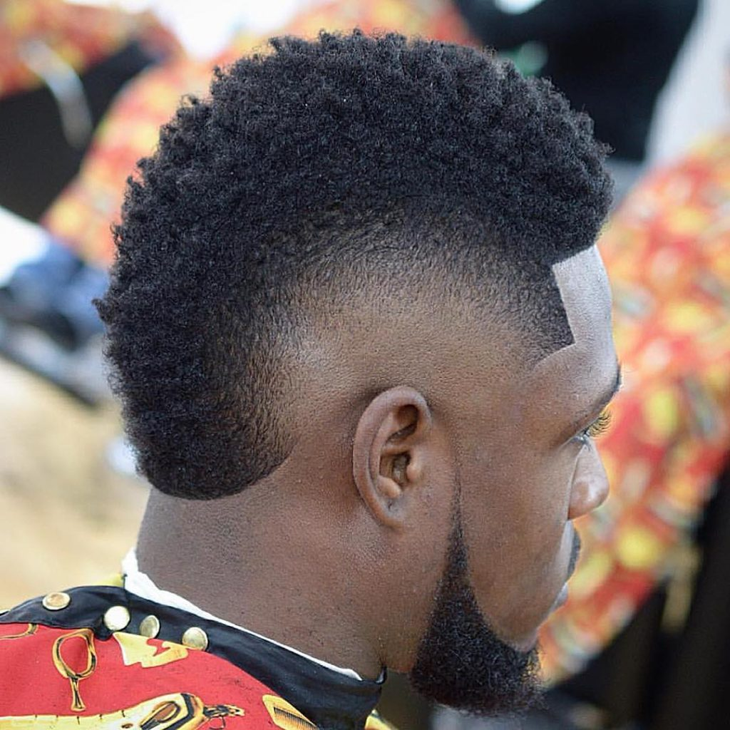 Bald fade mohawk for Black hair