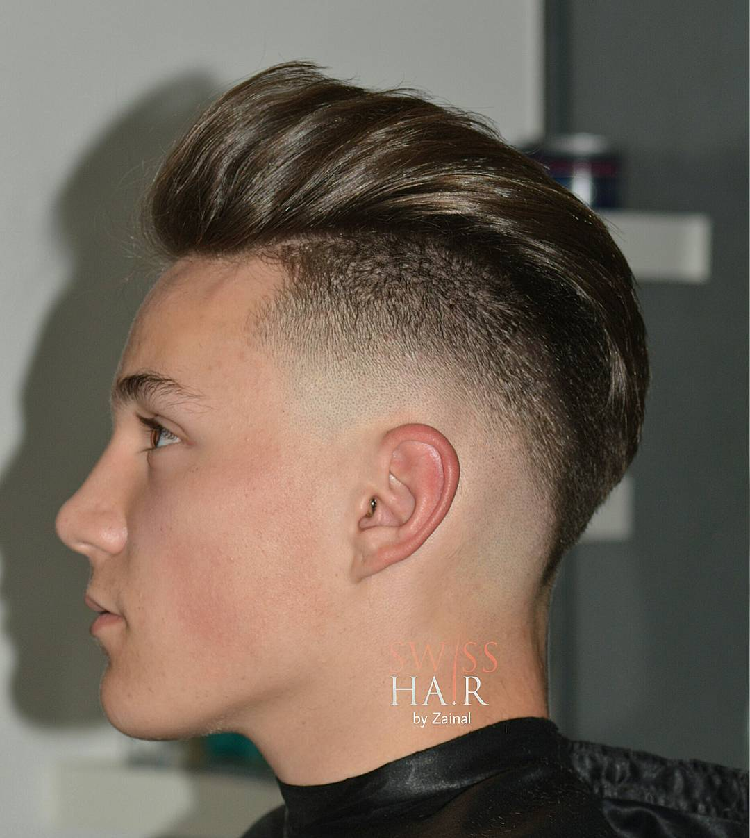 Pompadour haircut for men with bald drop fade
