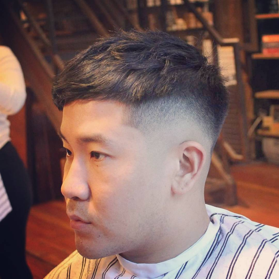 Short Crop Haircut with Angled Fringe + Bald Fade