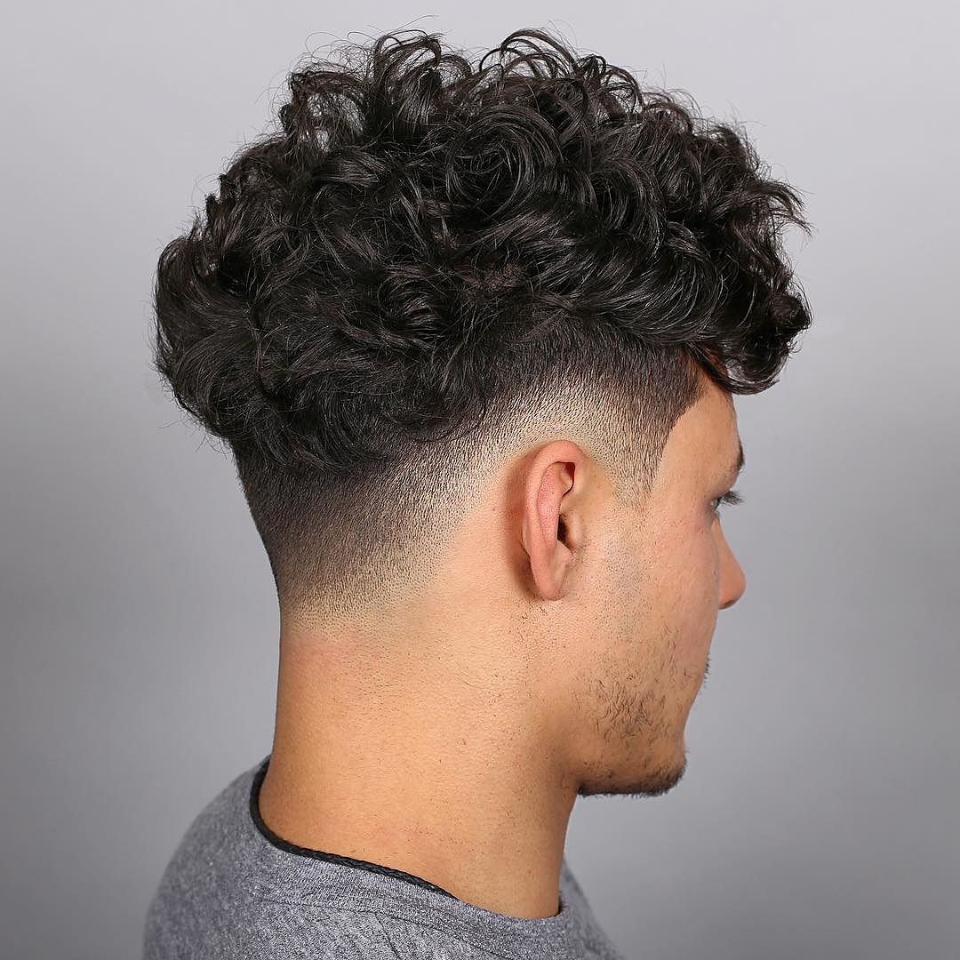 Medium Curls Undercut Mid Fade