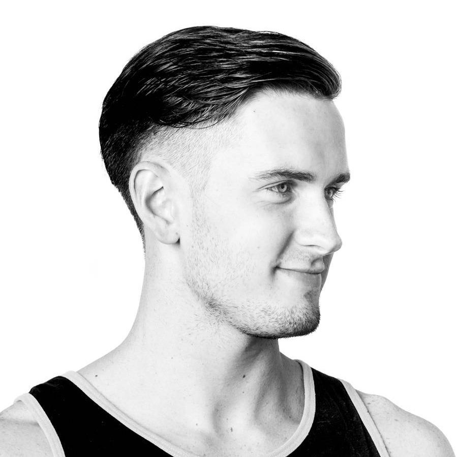 Medium length mens haircut temple fade