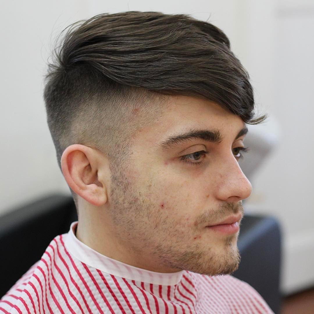 16. High Fade + Side Swept Fringe