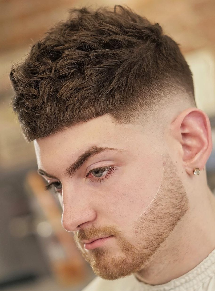 Blunt cut fringe mens haircut