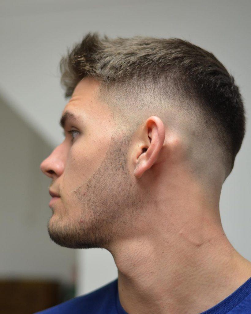 Mid skin fade short haircut