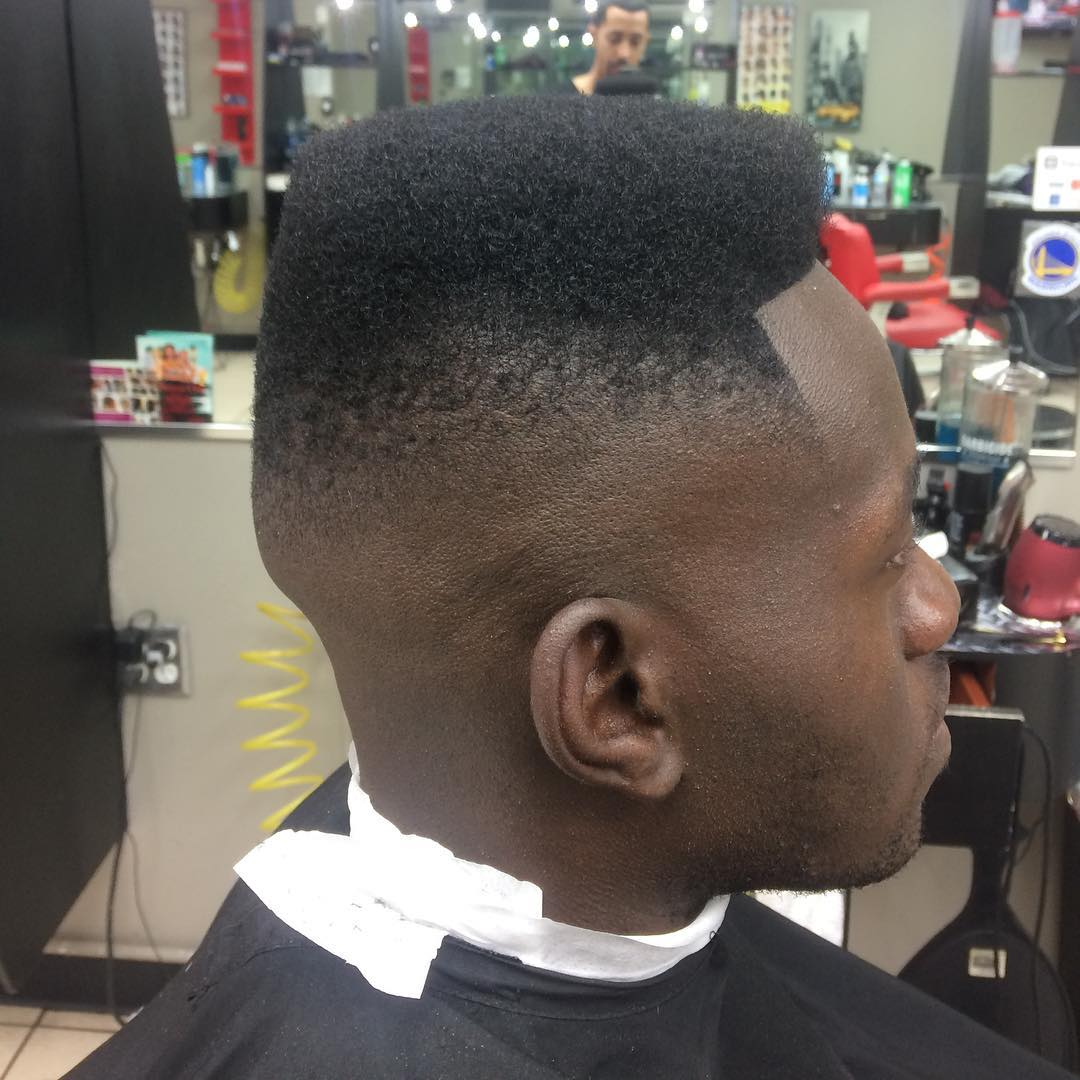 Blurry fade and flat top haircut