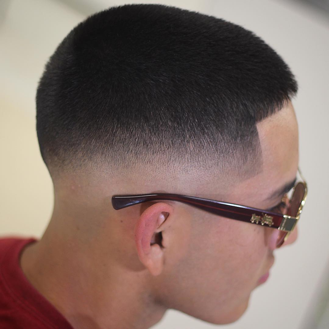 low fade buzz cut for thick hair men
