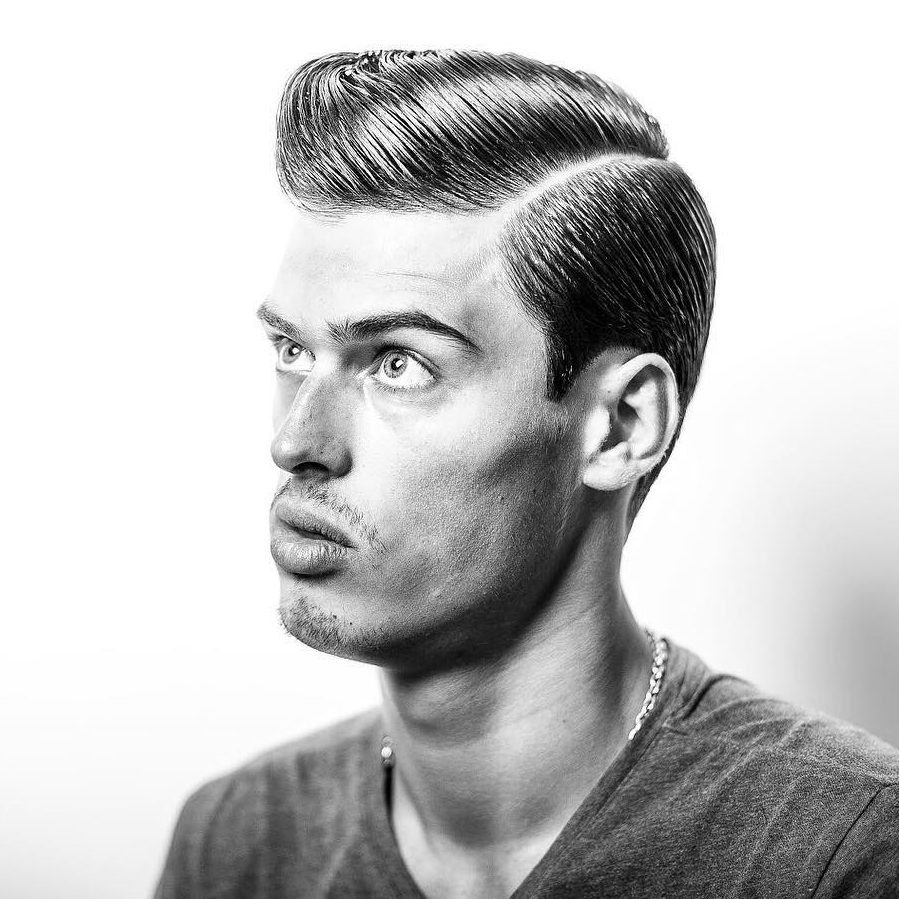 Slicked comb over hairstyle