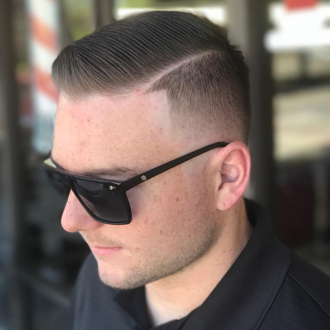 High fade comb over haircut