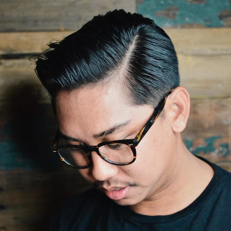 Tapered hair comb over haircut