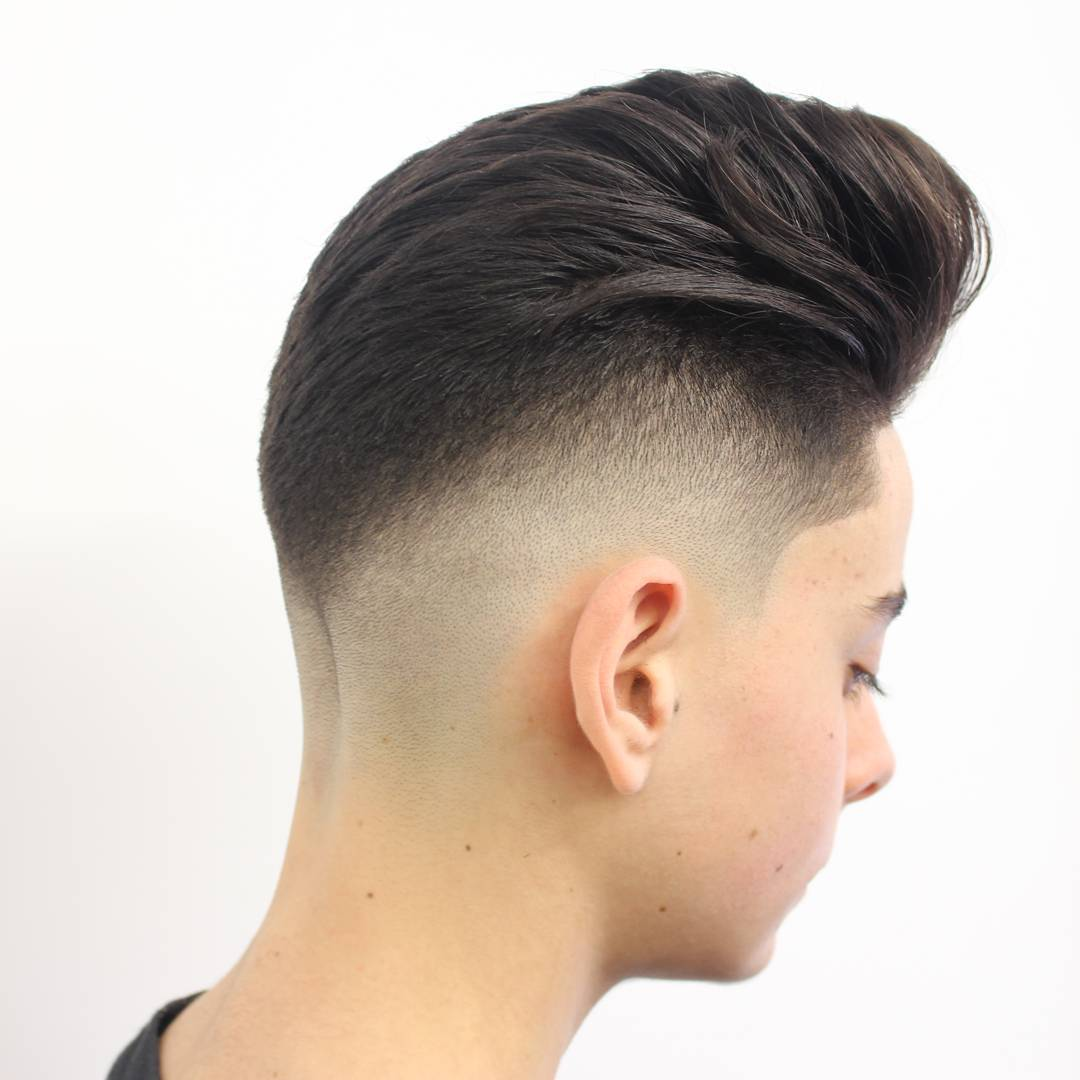 Pompadour and bald fade haircut