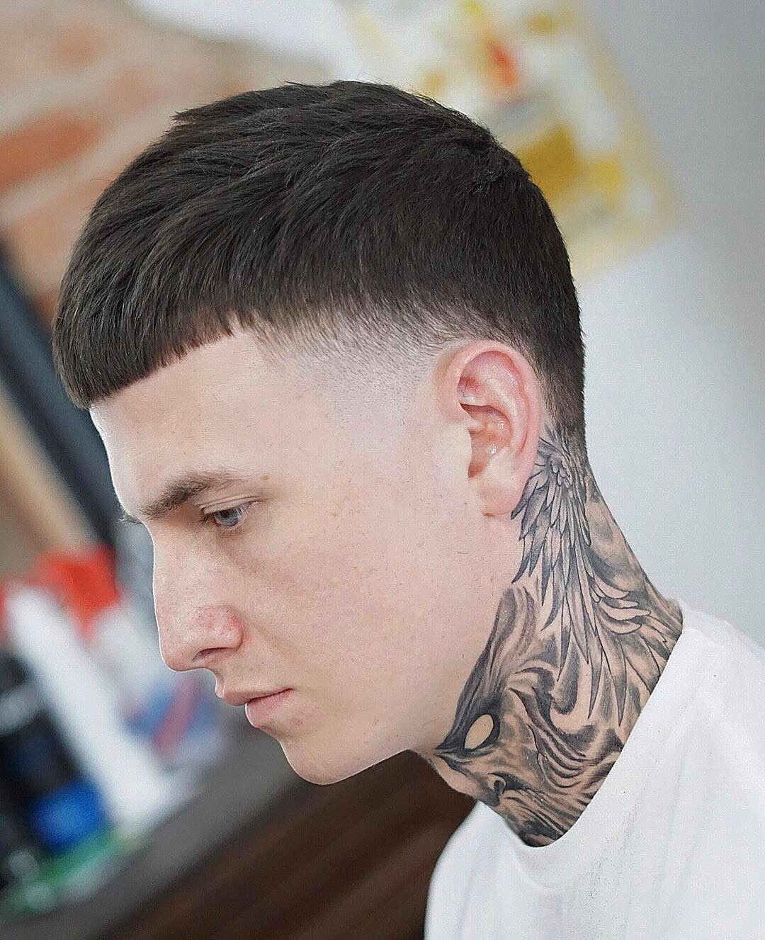 Temple fade modern caesar haircut