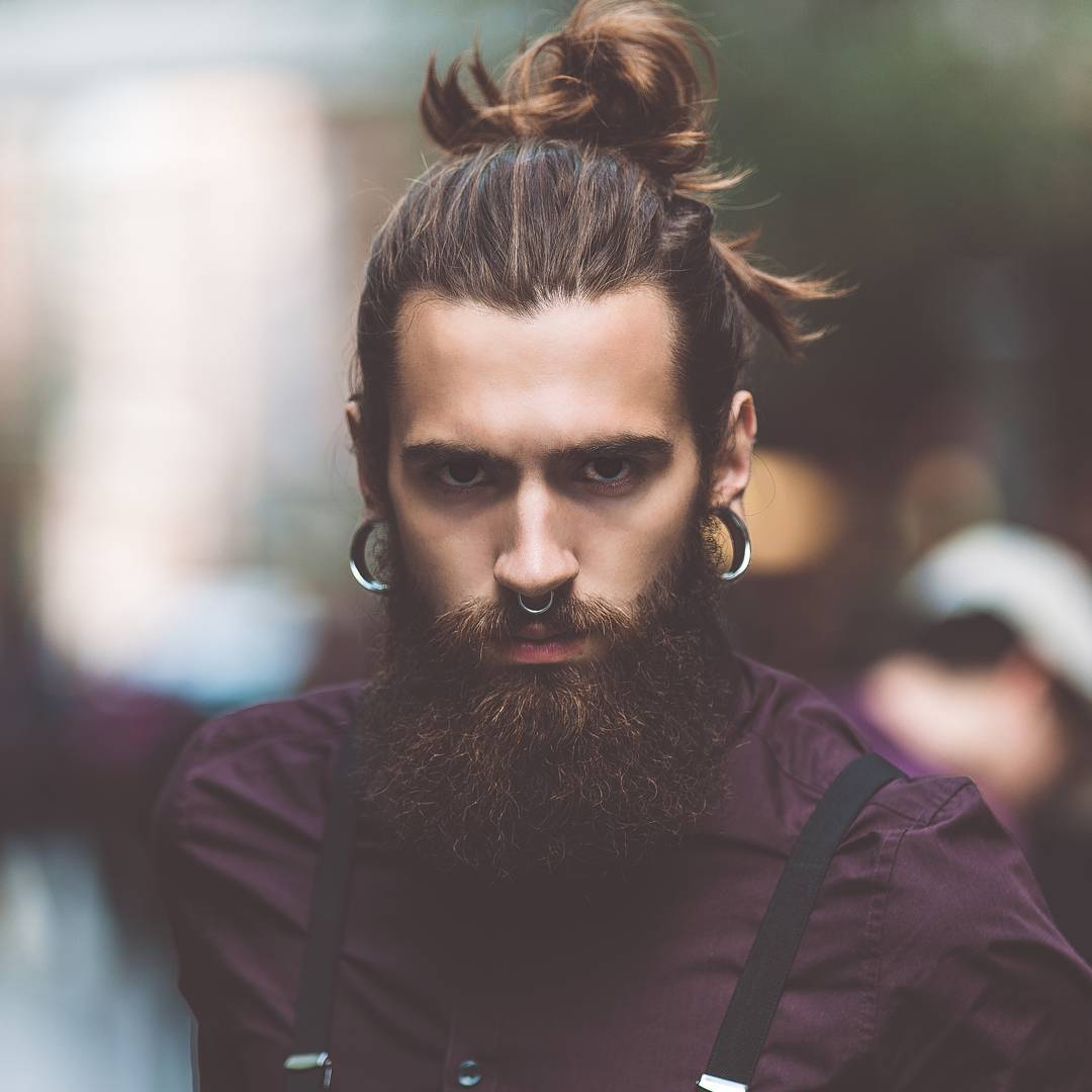 Beard with a man bun