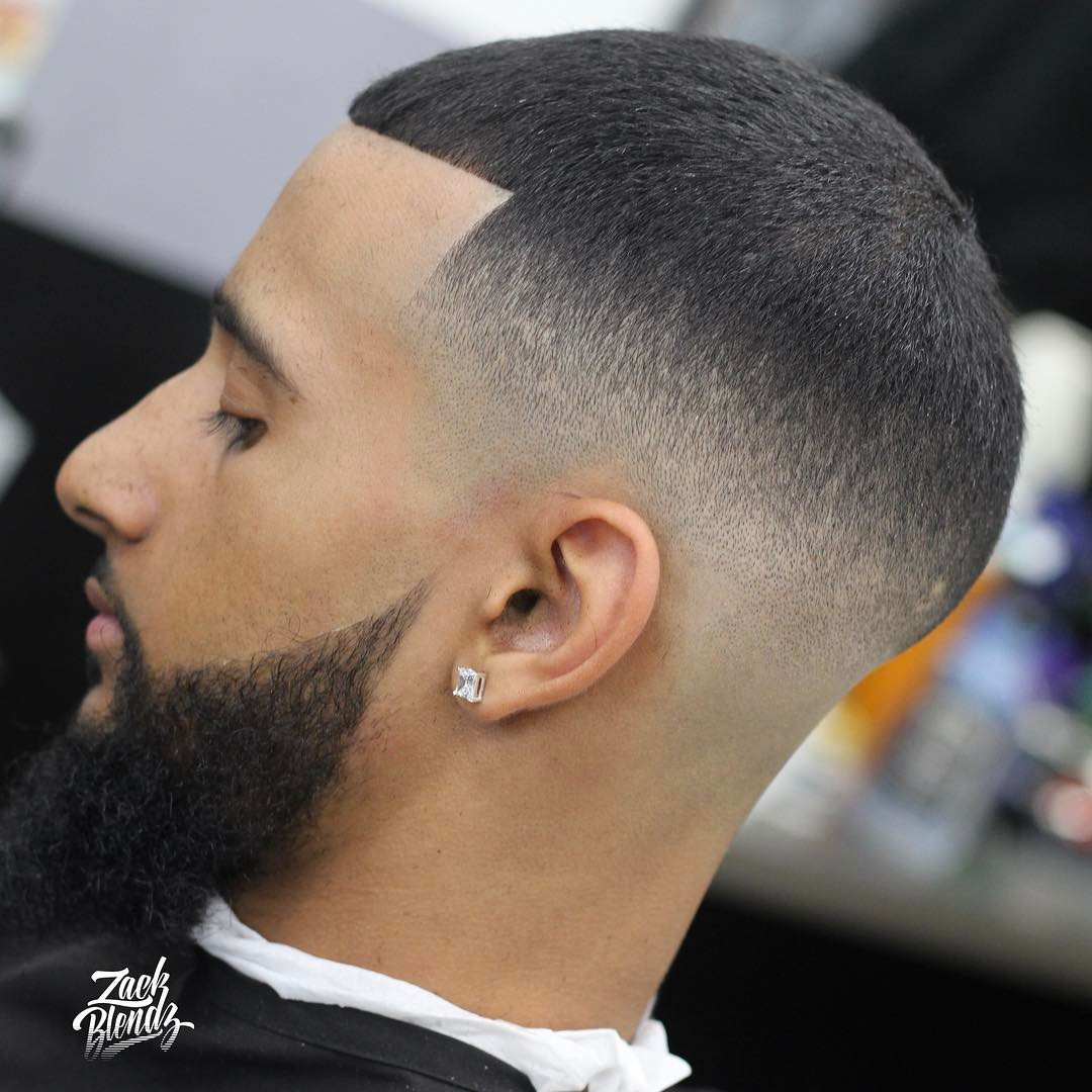 mid fade buzz cut with beard