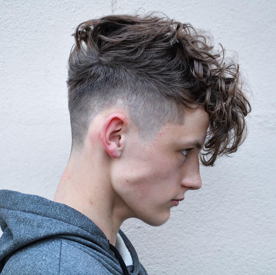 Medium length mens haircut for curly hair