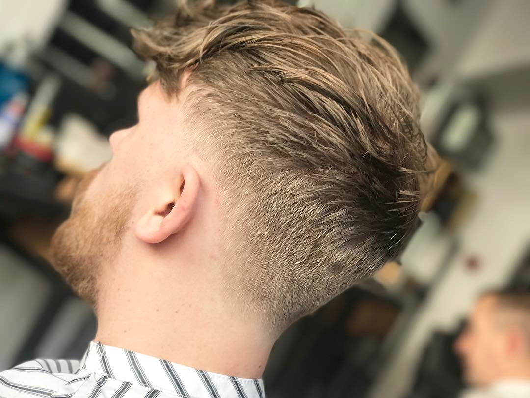 Textured haircut with long fringe