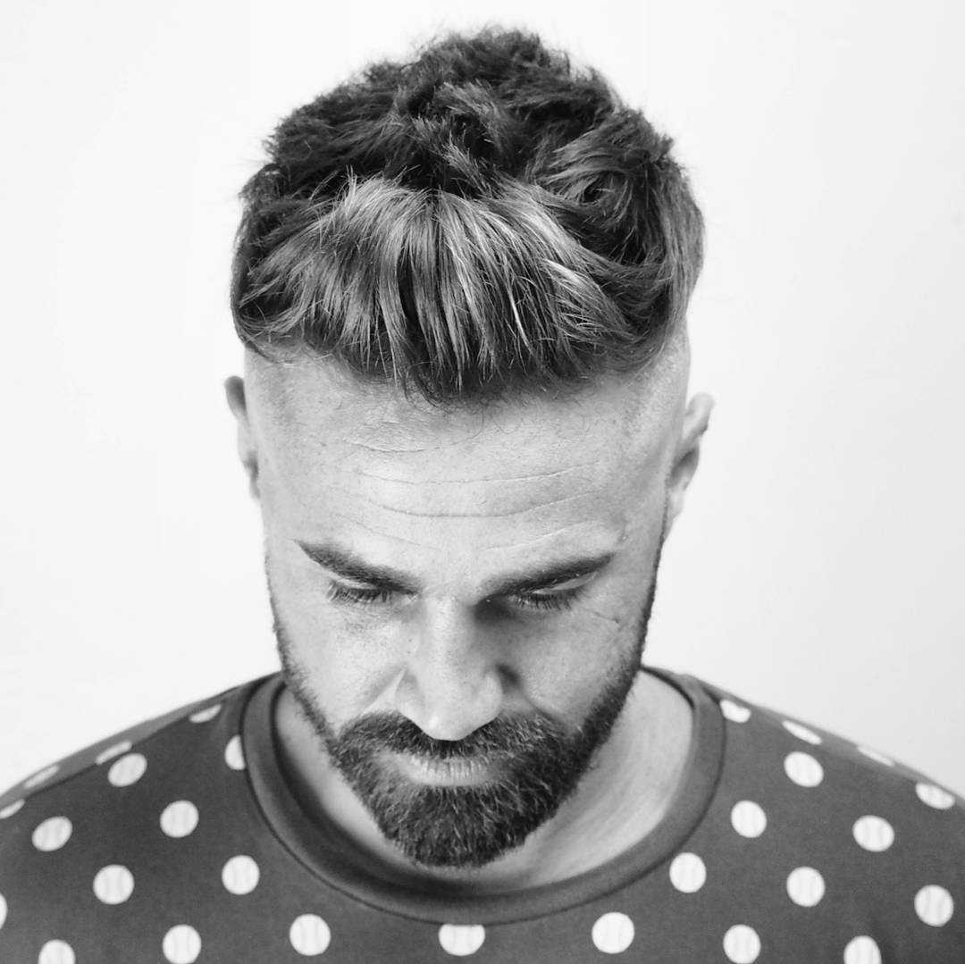 ambarberia front quiff haircut men high skin fade with beard