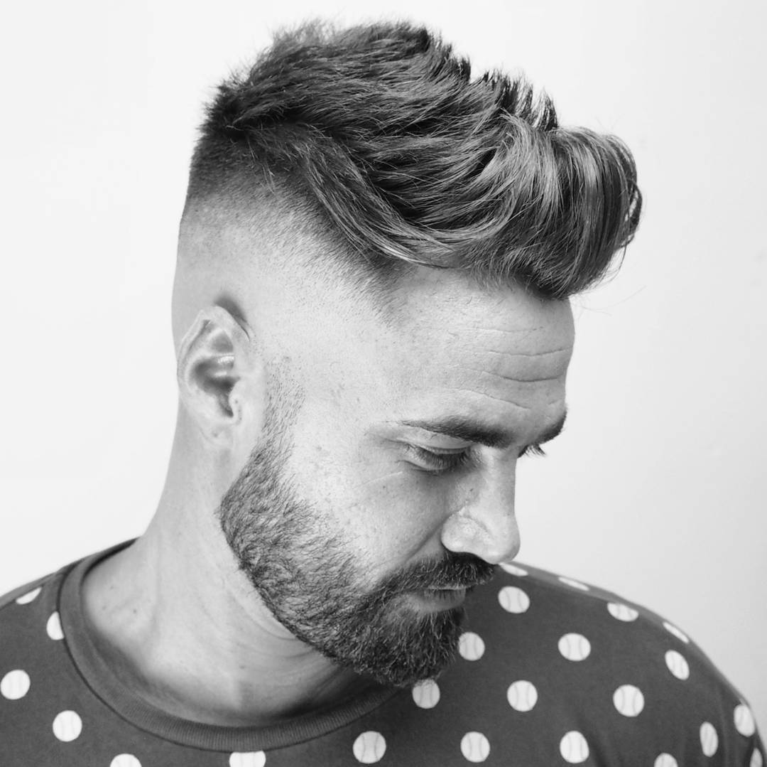 ambarberia quiff haircut men high skin fade with beard