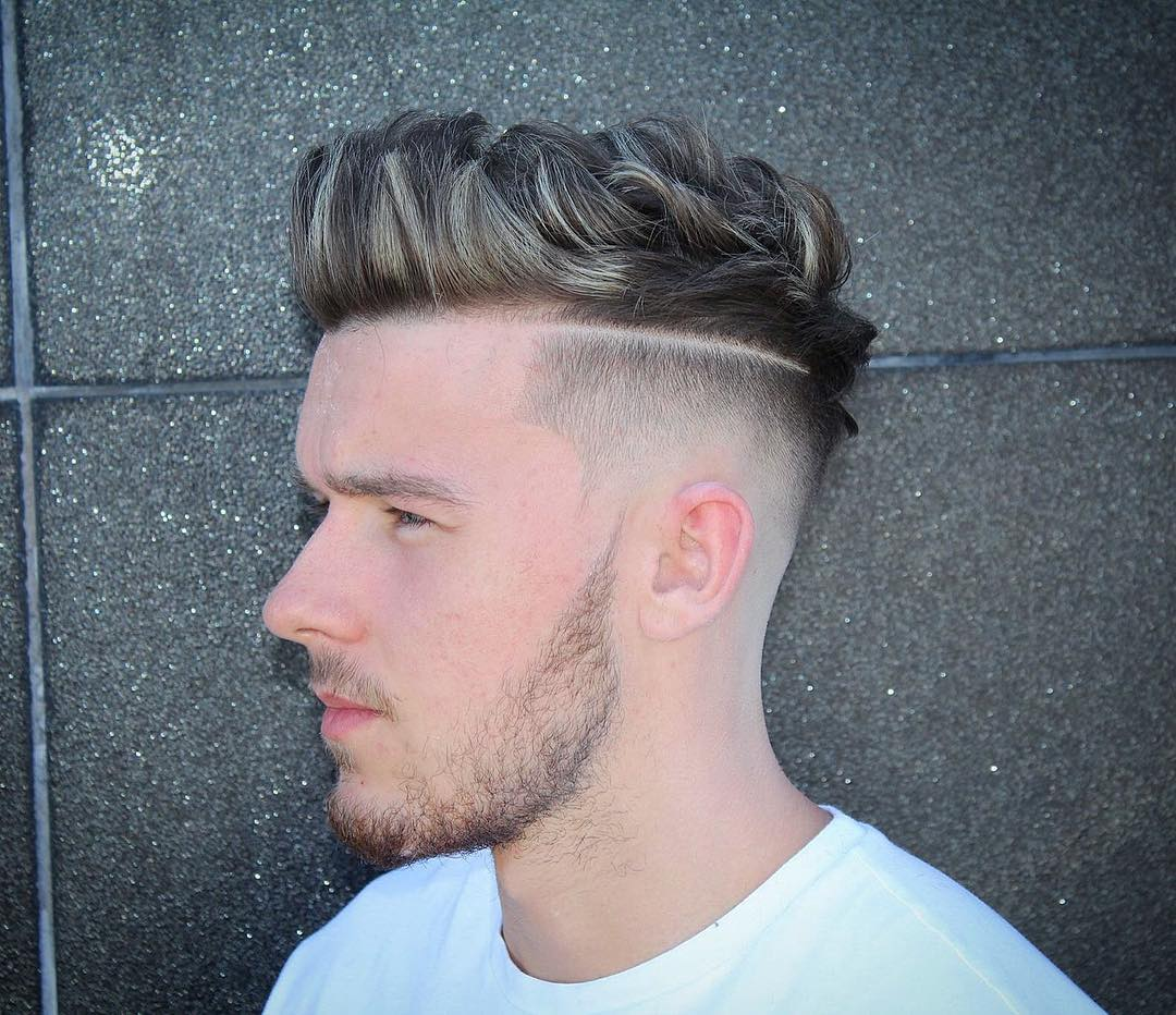 m13ky quiff haircut fade with surgical part