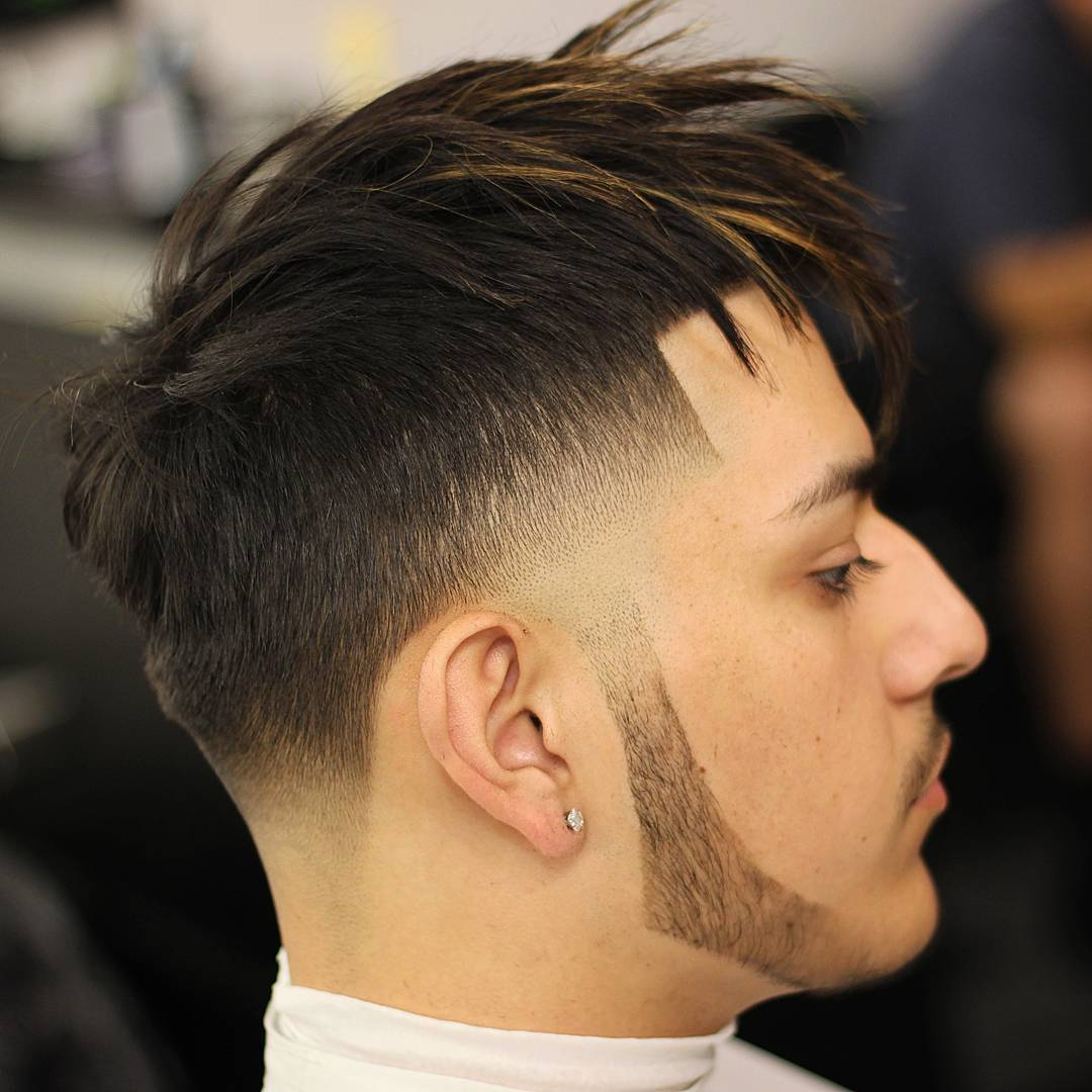odyzzeuz long spiky hair taper fade haircut