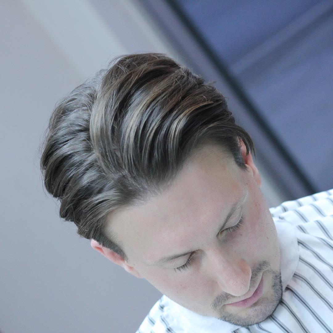 stasibarbers long mens hairstyle slicked back