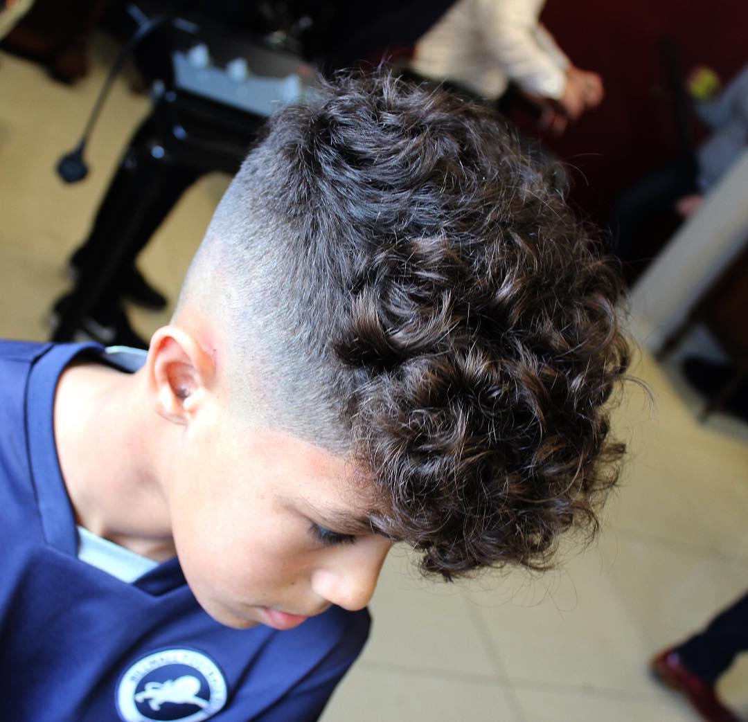 Curly hair fade haircut for boys
