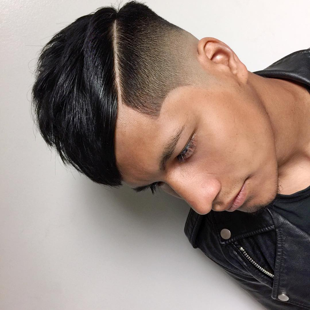 High Fade Haircut With Hard Part