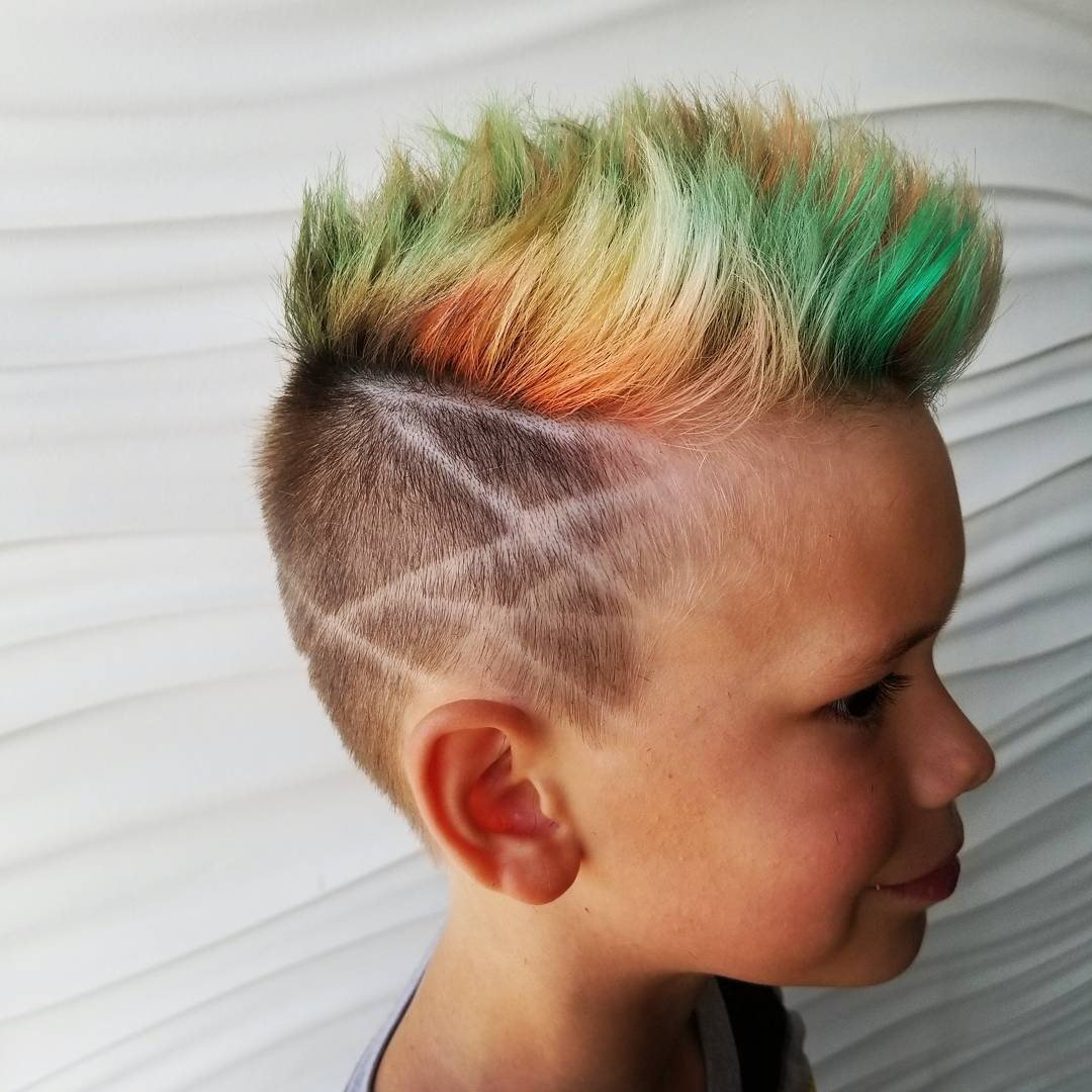 Spiky boy's fade haircuts with hair design