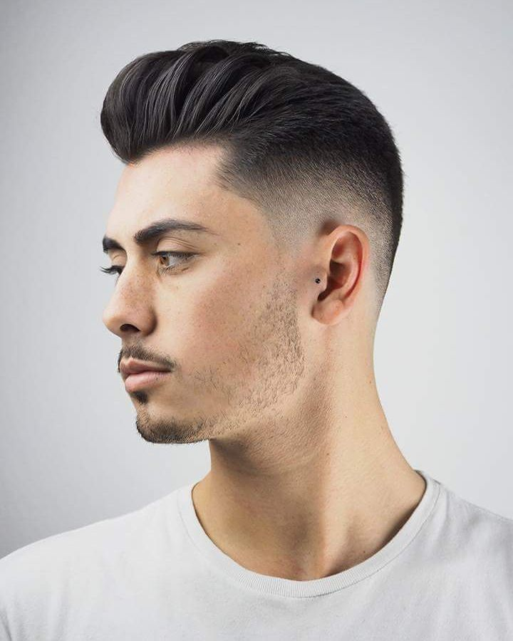 Pompadour and clean fade haircut