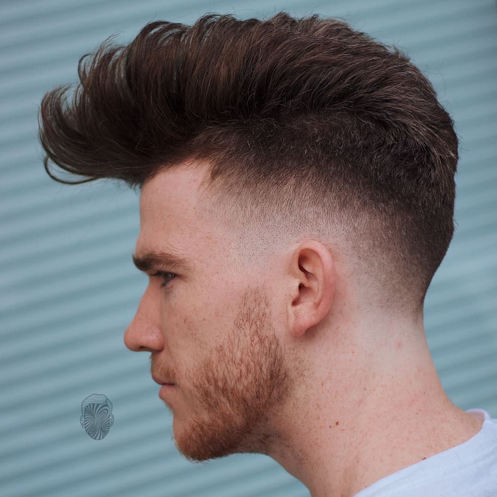Pompadour With Low Fade And Thick Hair