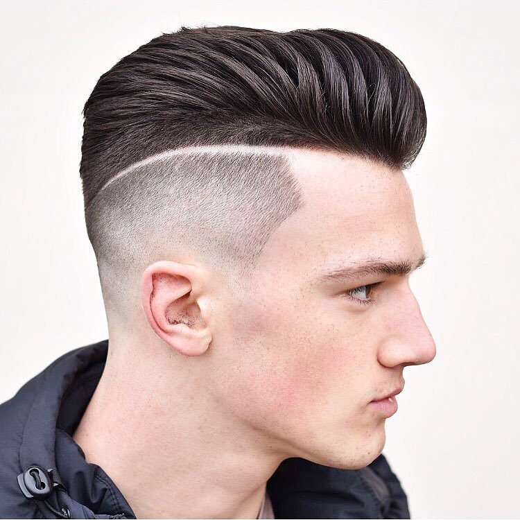Pompadour With Shaved Line High And Fade