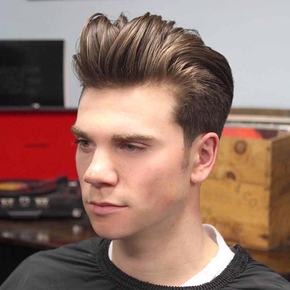 Messy Pompadour Haircut Tapered Sides