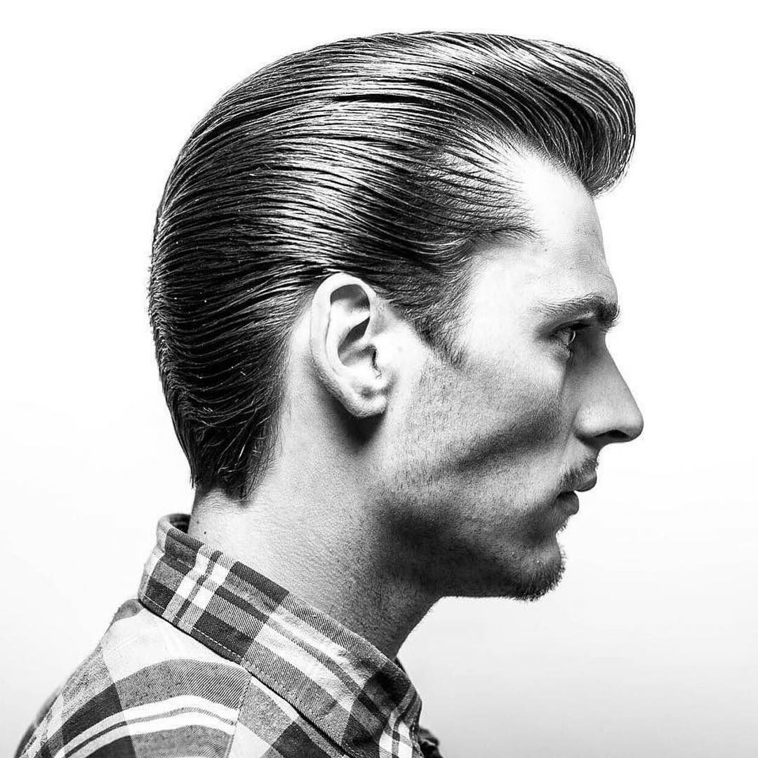 Medium length slicked back pompadour