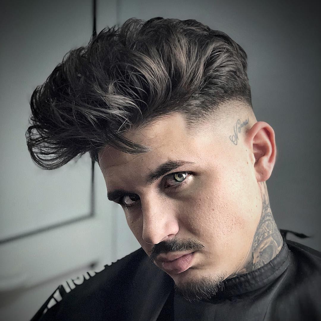 Wavy hair pompadour