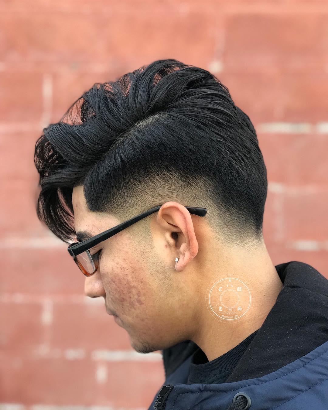 Burst fade haircut long hair