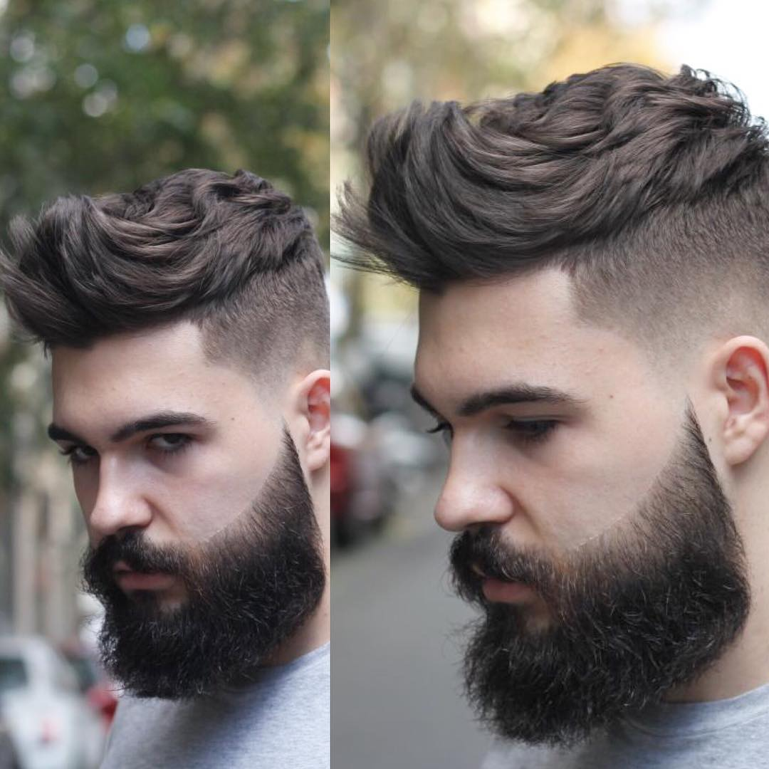 Textured quiff hairstyle and a high fade