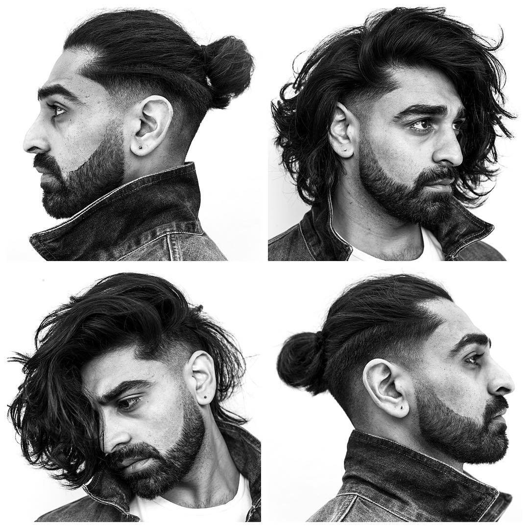 Long hair with low fade haircut for men