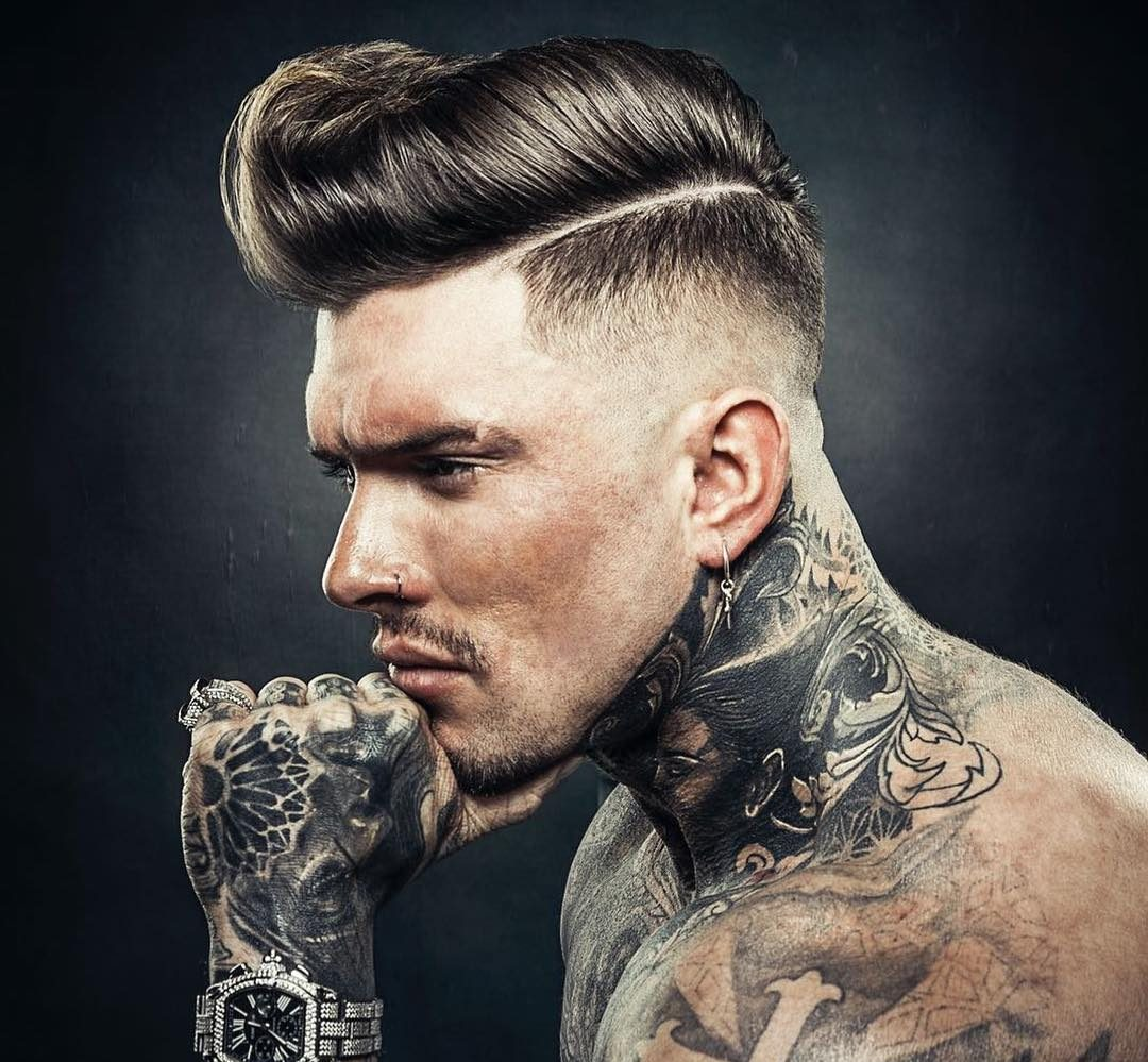 Thick hair pompadour hairstyle and bald fade