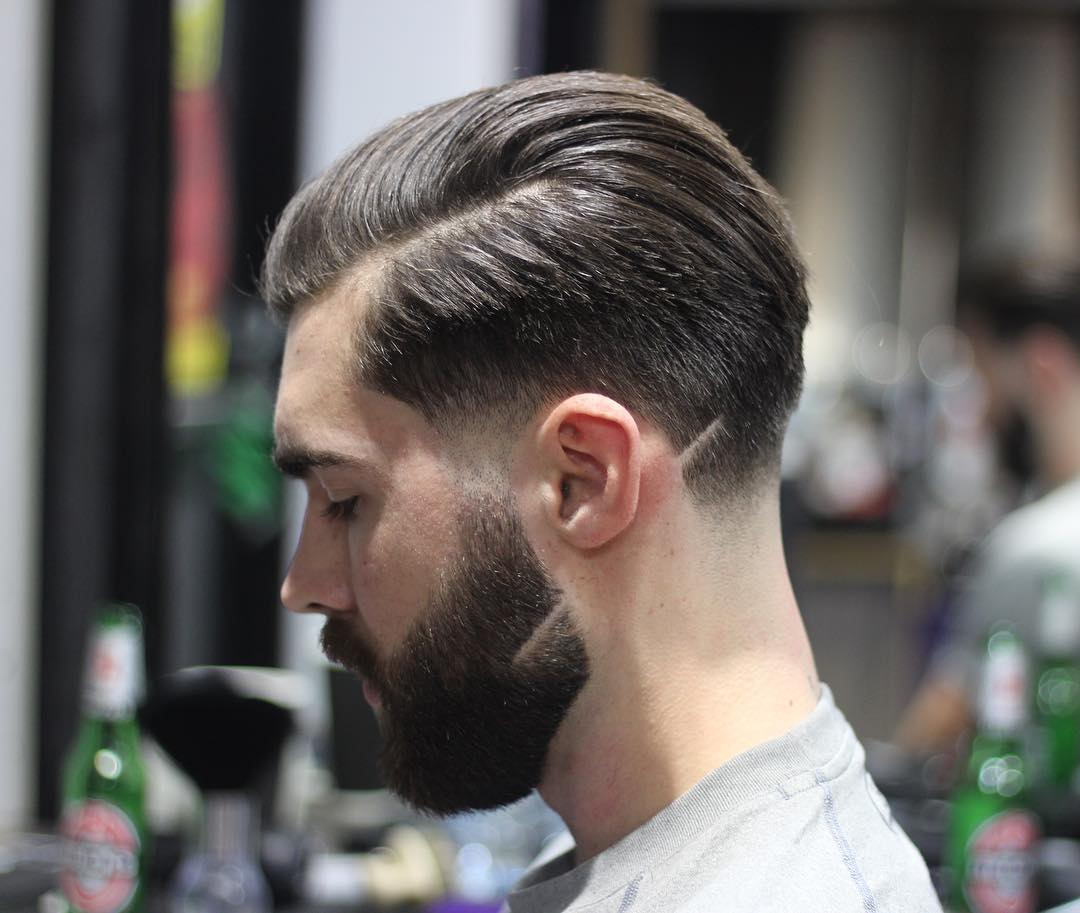 Cool thick beard style with line