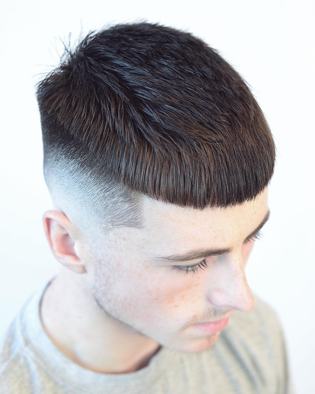 Crop haircut blunt bangs men