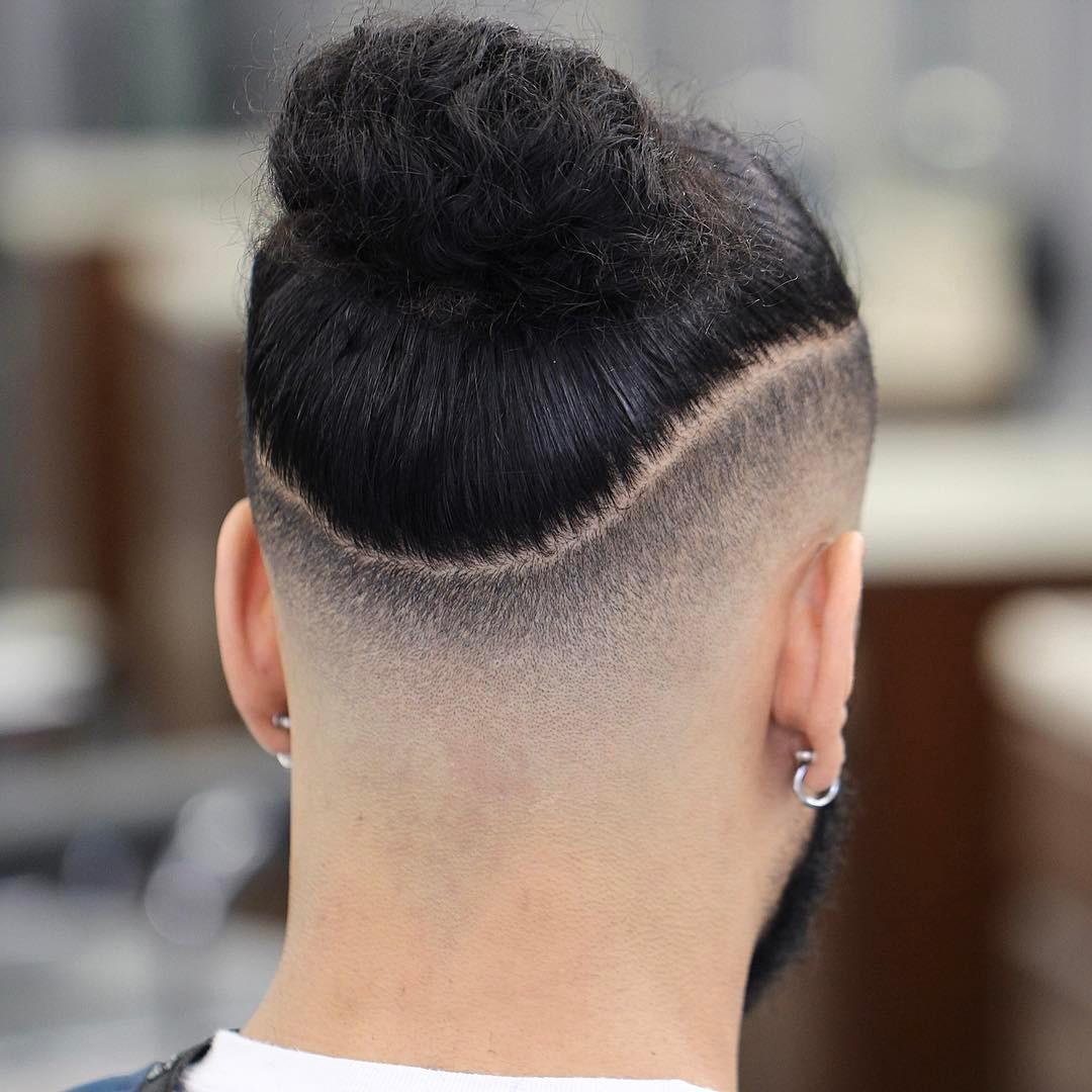 Man bun and drop fade