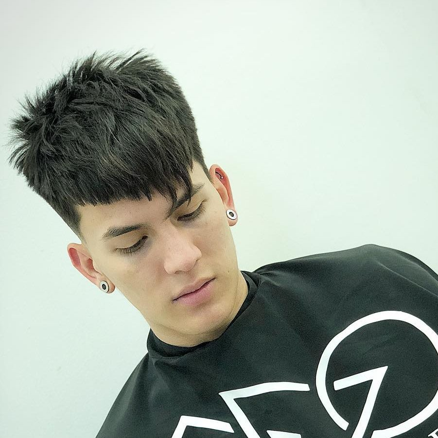 Diagonal bangs mens haircut