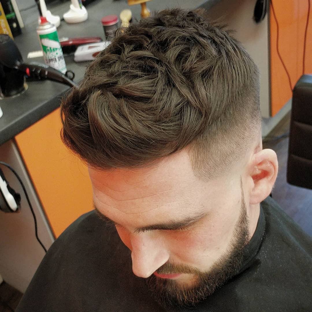 Textured quiff haircut for men high fade