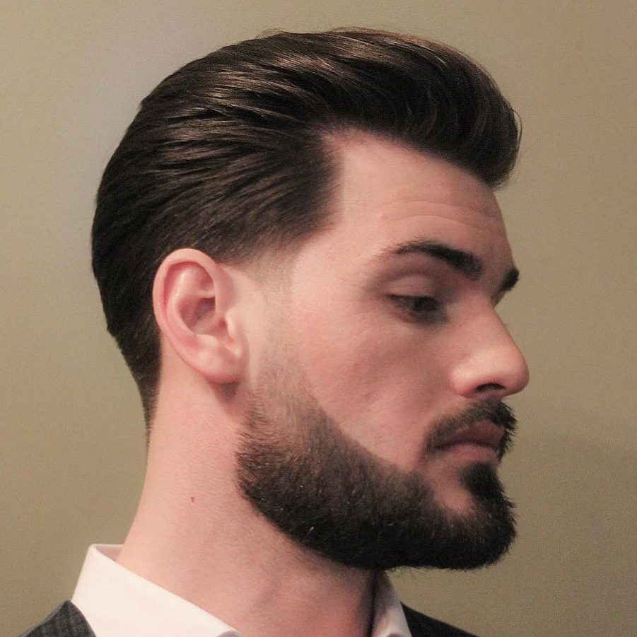 Beard with faded sideburns