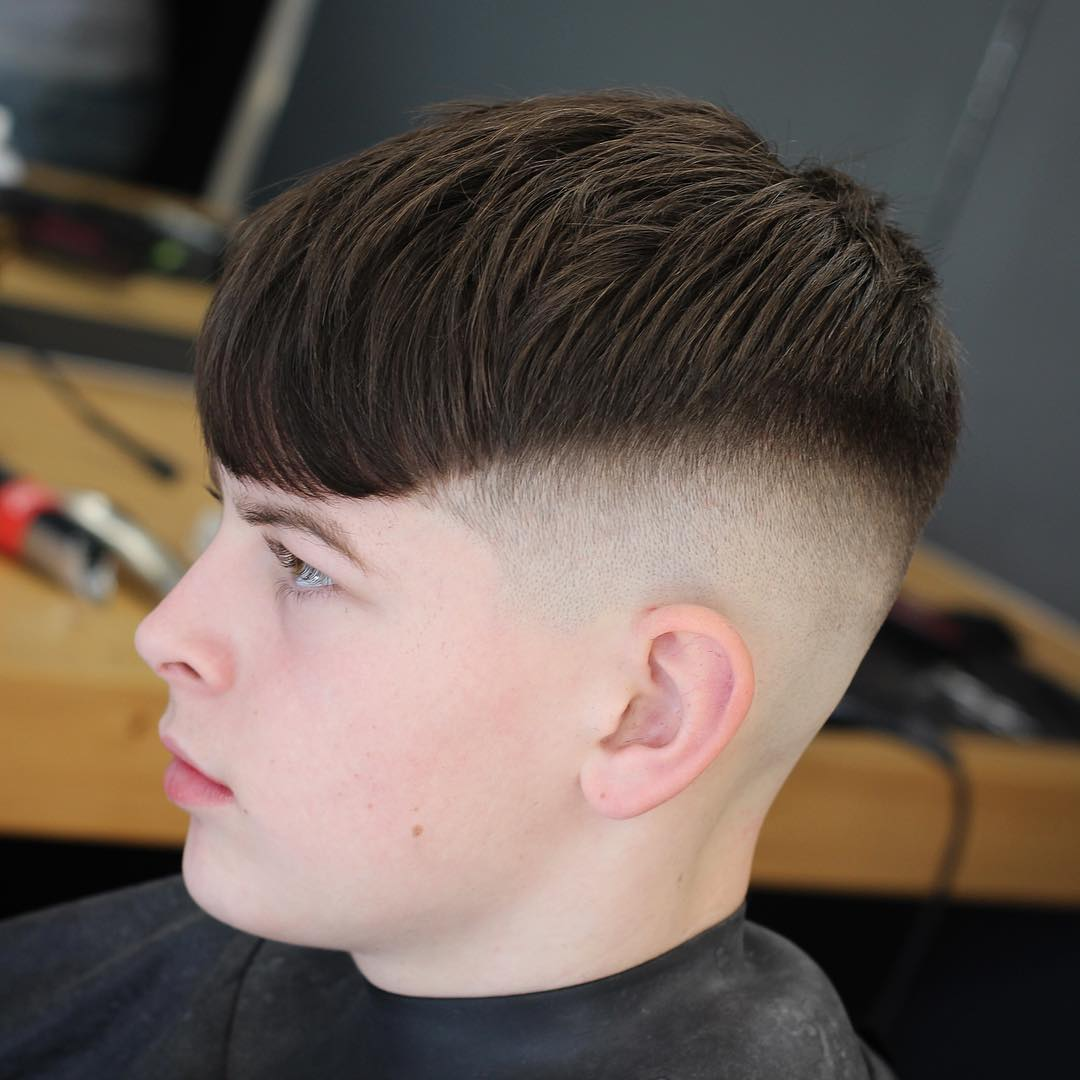 Crop with long fringe bald fade