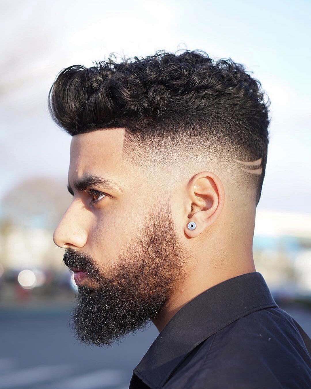 Short Haircut For Curly Hair + Hair Design + Beard