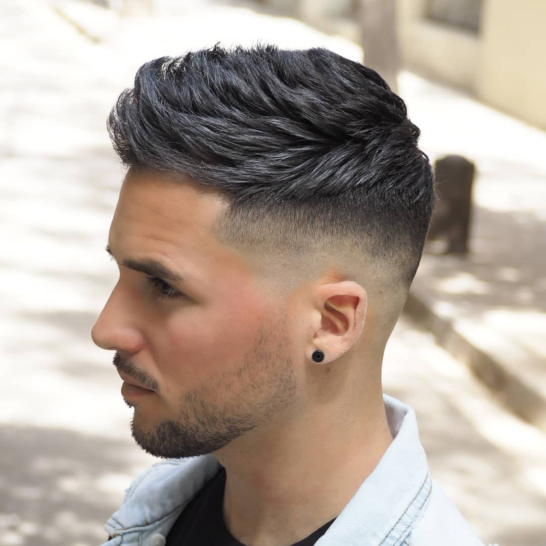 Short haircut for men low bald fade