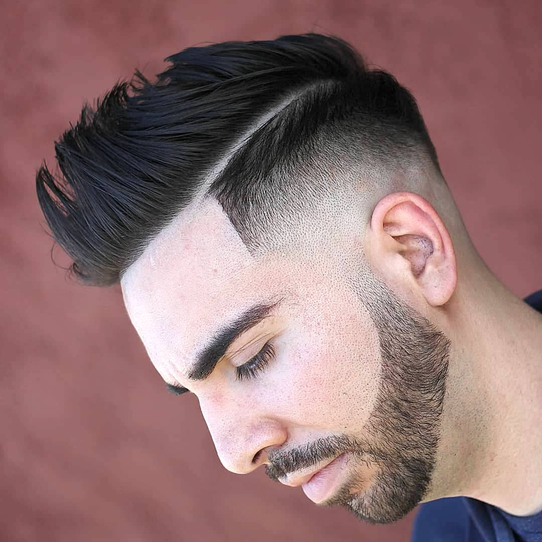 odyzzeuz side part pompadour mens haircut