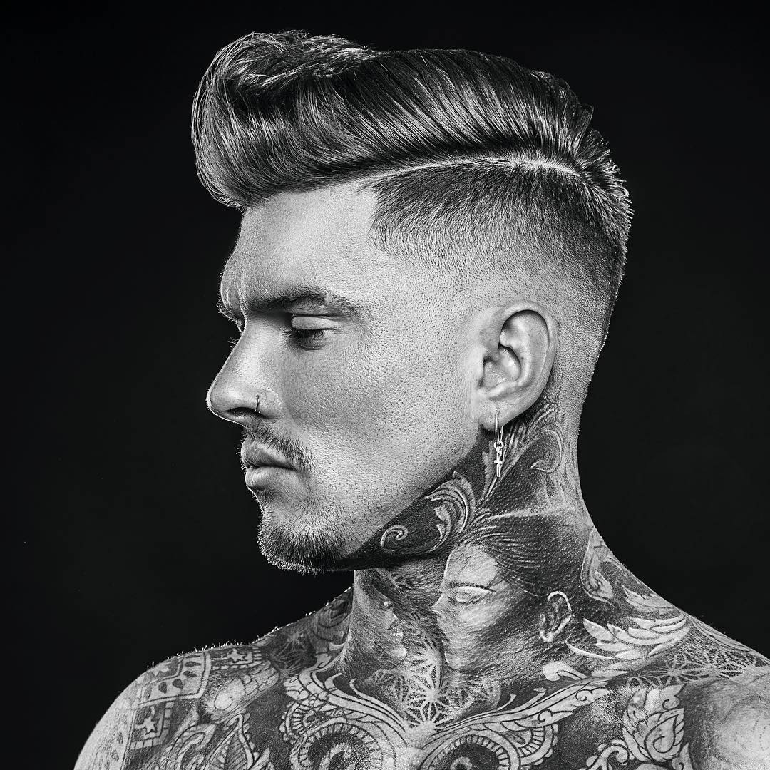 r.braid side part pompadour haircut