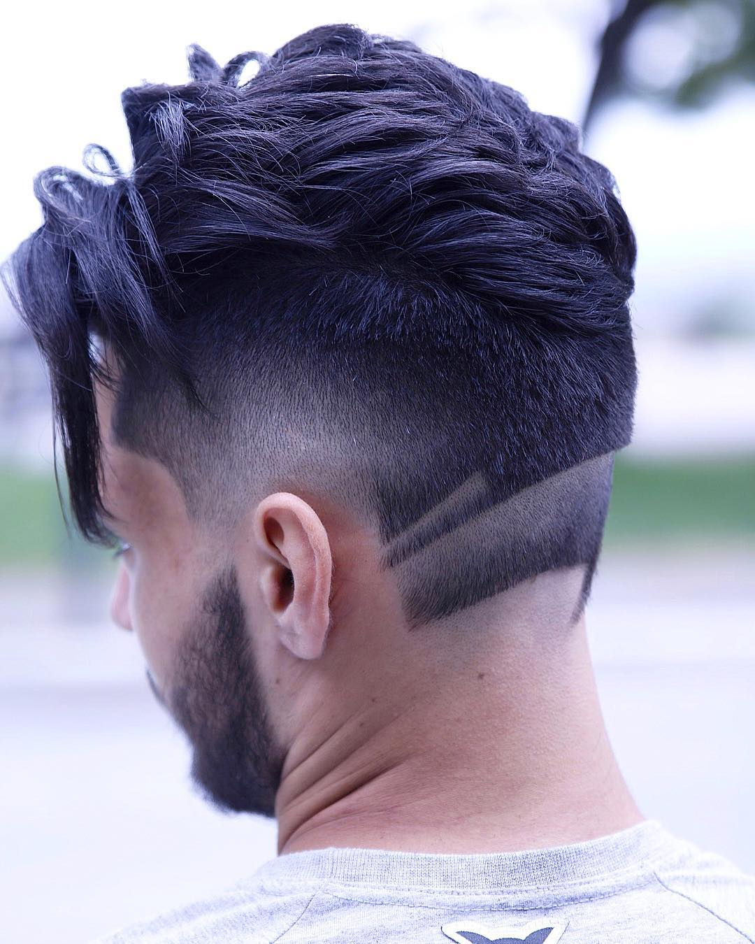 Neckline hair design fade haircut and disconnected beard