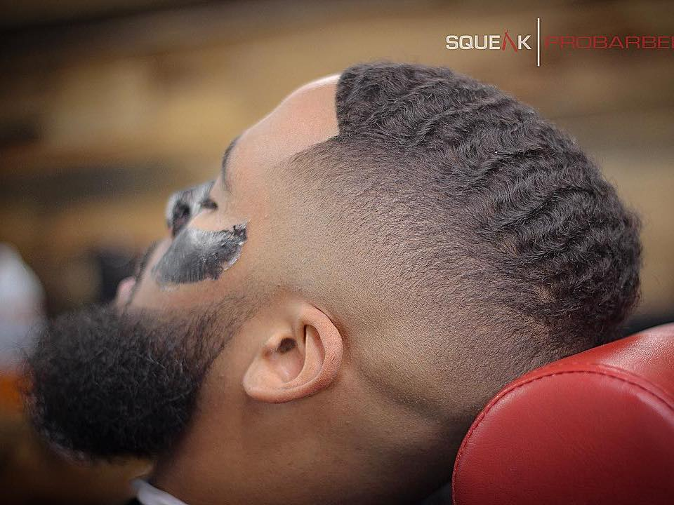 squeakprobarber waves and high fade haircut